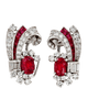 Art Deco Burma Ruby and Diamond Earrings by Raymond Yard