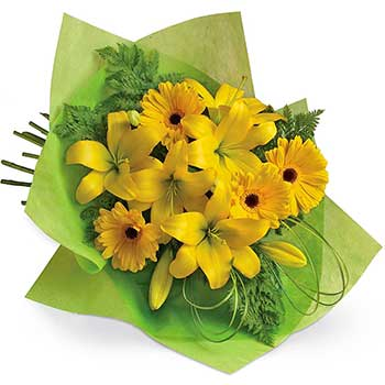 Buy yellow bouquet of gerbera & lilies