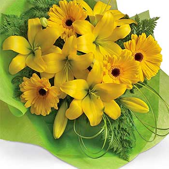 All Yellow Bouquet of Gerbera & Lilies