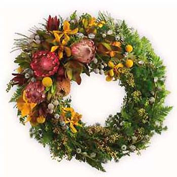 Send traditional Australian native flower funeral / ANZAC wreath