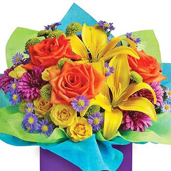 Birthday Boy Flowers Rainbow Gift Box