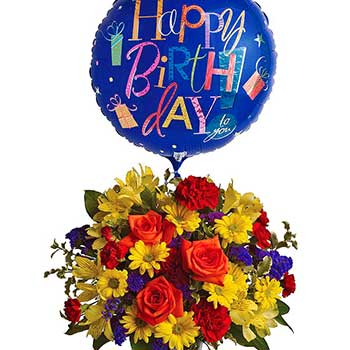 Birthday Flowers & Balloon For Him