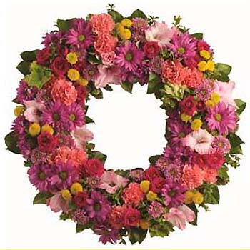 Order bright colourful sympathy wreath