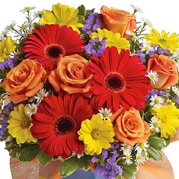 Order bright garden flower arrangement
