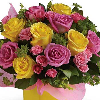 Buy bright box of lemon &  strawberry roses