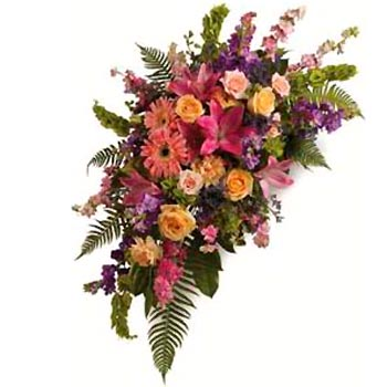 Order colourful double ended casket spray in mixed flowers