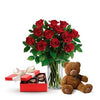 Buy vase of red roses chocolates & soft toy