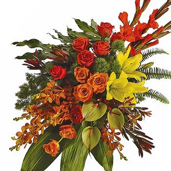 Order bright modern tropical funeral spray
