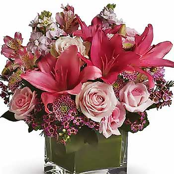 Send decadent romance flowers & gift vase