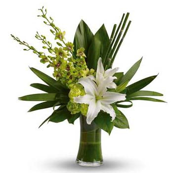 Leafy Tropical Flowers & Vase