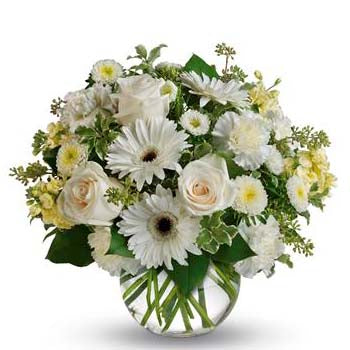 Elegant White Flowers in a Round Vase