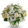 Elegant white flower mix in a round vase
