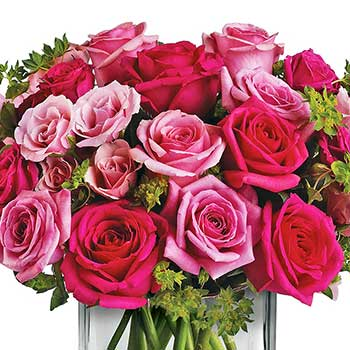 Buy exquisite mix of pink roses in a vase