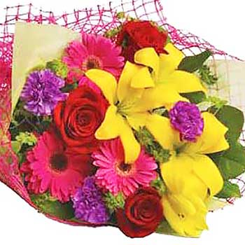 Send funky bright flower bouquet