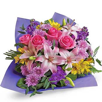 Glorious Bouquet in Lilac Yellow Pink