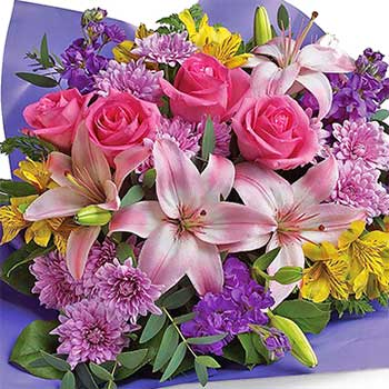 Buy glorious bouquet in lilac yellow pink
