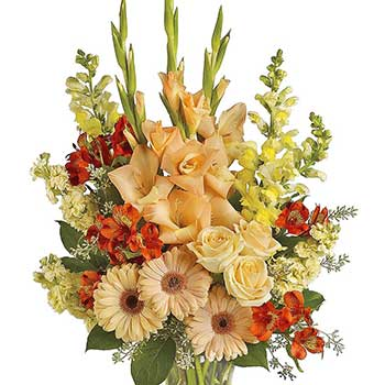 Send sympathy vase in tasteful shades of summer