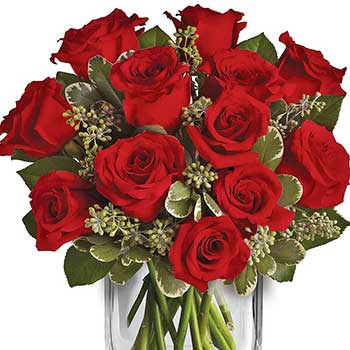 Send romantic gift red roses presentation vase