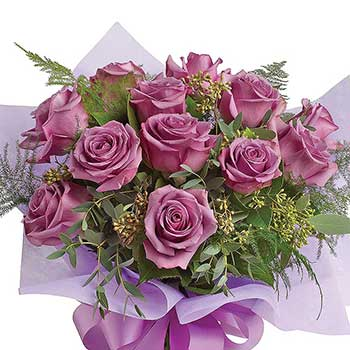 Buy lilac & lavender rose bouquet