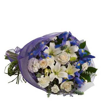 Order bouquet of lily rose carnations & iris