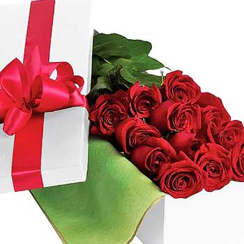 Buy dozen long stem red roses in a presentation box
