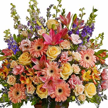 Send graceful mixed funeral flowers in full blossom