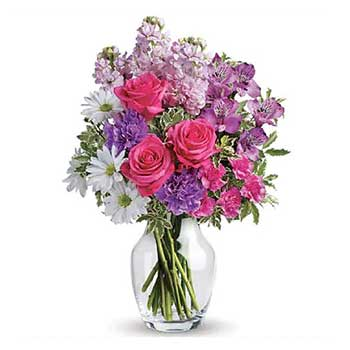 Lavender pink white luxury mixed flower gift