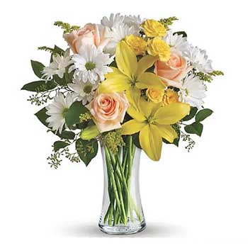 Send a splash of sunshine in a vase of mixed flowers