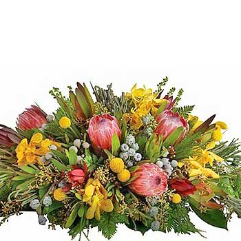 Buy round table arrangement of native flowers