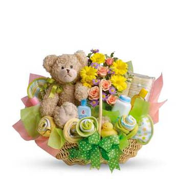 Send luxury new baby gift basket & flowers | Australia delivery