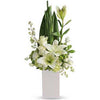 Heavenly White Funeral Flower Vase Arrangement