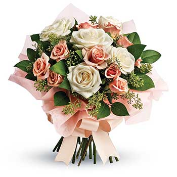 Buy pastel peach's & cream rose posy