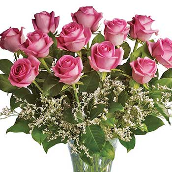 Send perfect pink roses in a vase