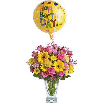 Send pretty birthday flowers & balloon for her