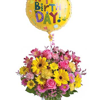 Buy Pretty Birthday Flowers & Balloon For Her