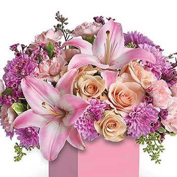 Buy pretty pink mixed flower mini box