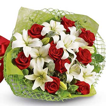 Buy elegant red rose white lily bouquet | Xmas valentines