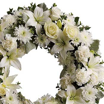 Buy serene round white floral sympathy wreath