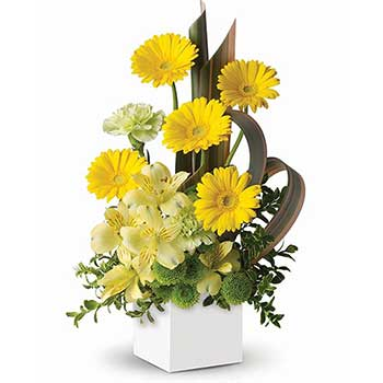 Send modern floral artistry yellow designer flowers
