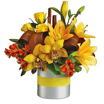 Send sunny citrus table flower display