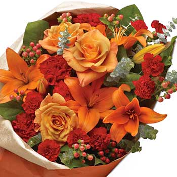Send sunset orange lily & rose | Best selling bouquet