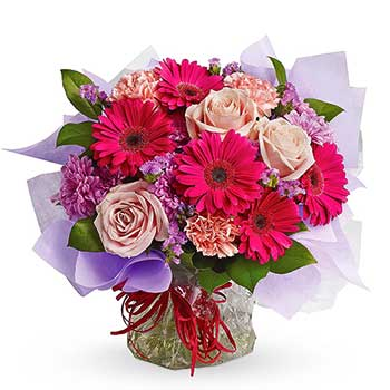 Send sweet dreams surprise aqua packed bouquet treat
