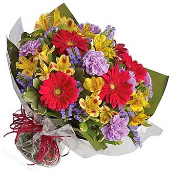 Send surprise gift flowers bright & bouncy bouquet