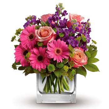 Spring Garden Flowers in a Square Vase