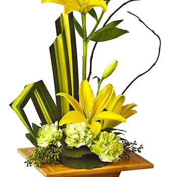 Send serene & graceful modern floral arrangement in yellow