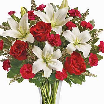 Timeless Tall Vase of Red Roses & White Lilies