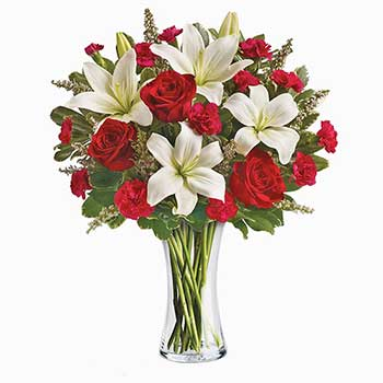 Send gypsy red roses & snow white lilies in vase