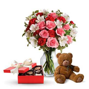 Luxury Flowers in a Vase with Chocolates Soft Toy