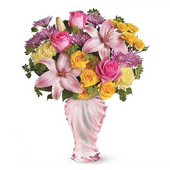 Send vintage flower vase arrangement of blooms