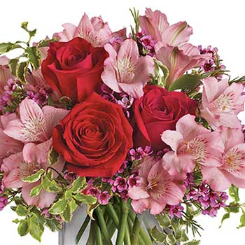 Send heart felt romantic vase of mixed pink flowers